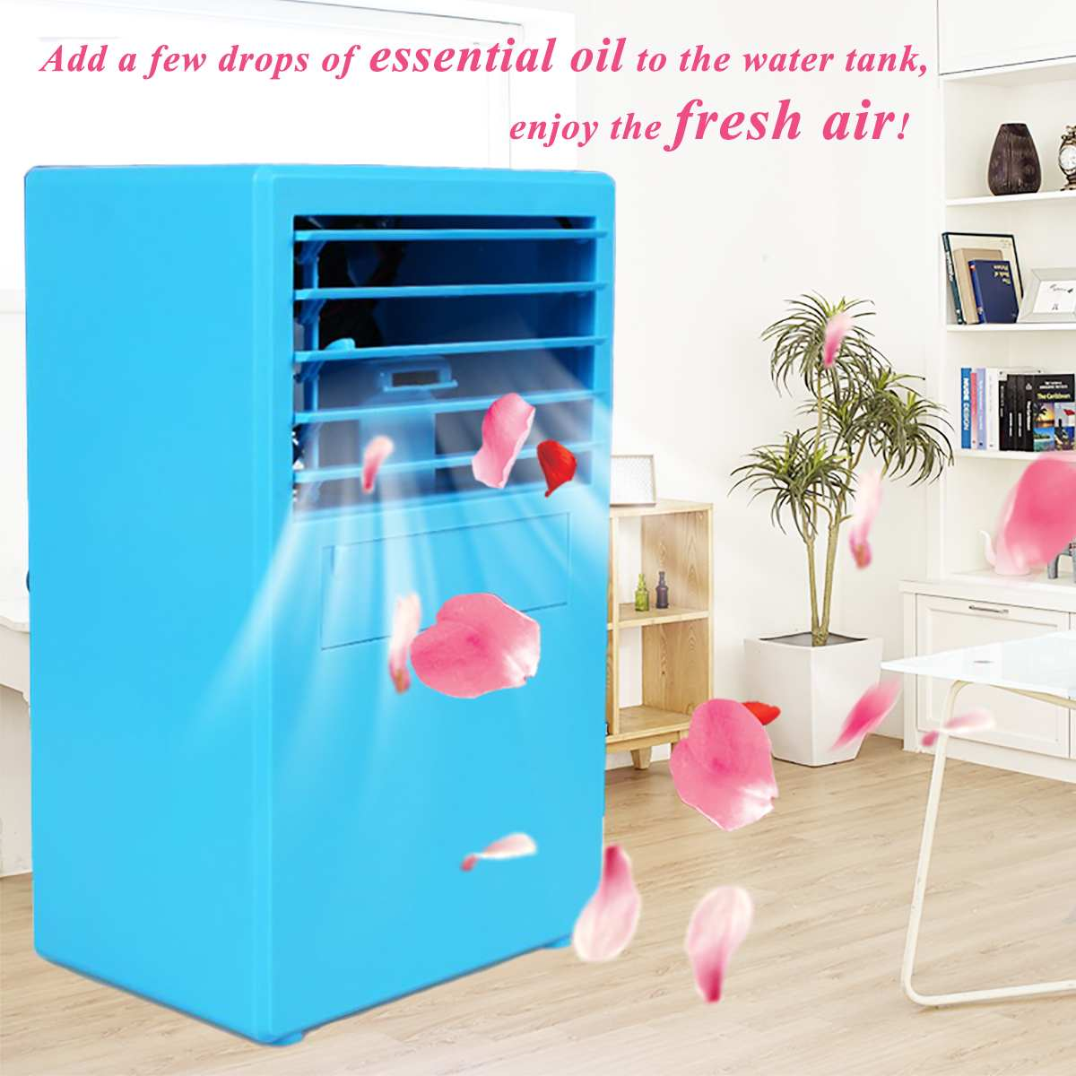 Portable 24V 18W 3 Speed Mini Spray Humidification Air Conditioning Fan 2 Colors 5 Leaf Cooling Fan