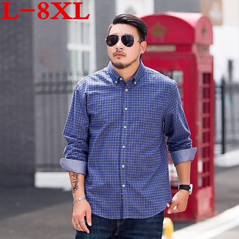 Grande taille 8xl 7xl hommes chemise en coton classique à manches longues robe chemise hommes d'affaires chemises formelles hommes vêtements Camisa Masculina