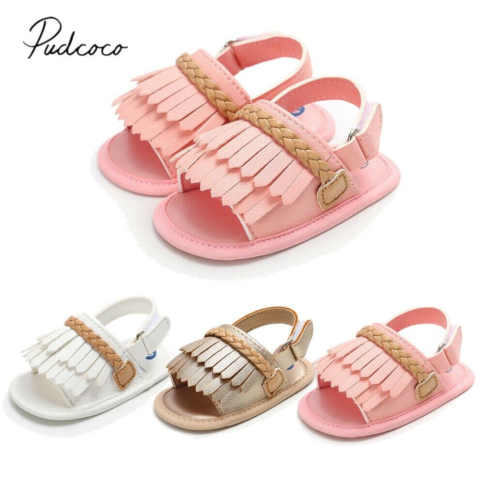 UK Newborn Baby Girl Summer Sandals Anti-slip Prewalker Kid Soft Sole Crib Shoes