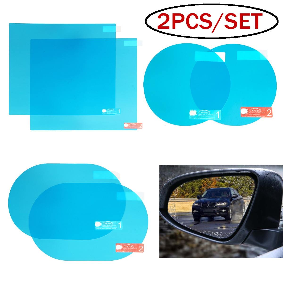 Protective-Film-Accessories Auto-Rearview-Mirror Window Anti-Fog Rainproof Car 2pcs/Set