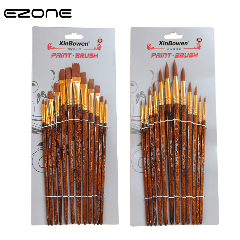EZONE 12PCS Painrt Brush For Watercolor Oil Gouache Acrylic Painting Wooden Handel Nylon Different Flat Round Brushes Art Tools