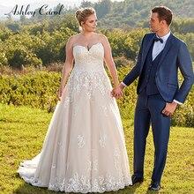 Ashley Carol Plus Size A-Line Wedding Dress Sweep Train