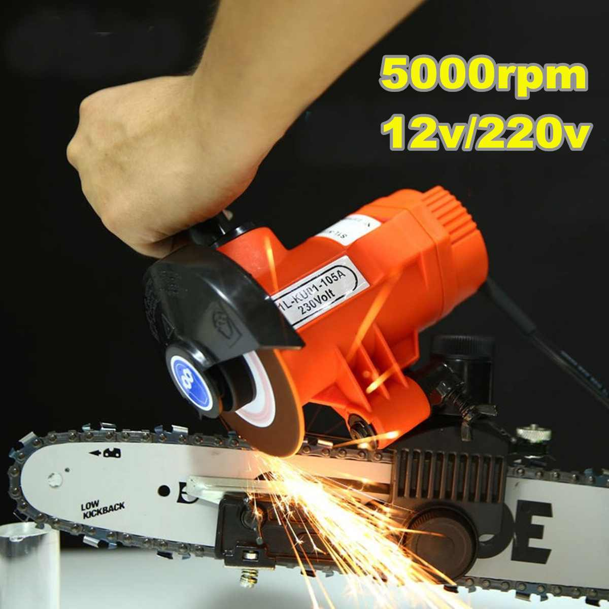 Electric Chainsaw Chain Saw Blade Grinder Wheel Sharpener Tool Wheel Guard Ruler Woodworking Power Tools Kit 12V/220V 85WElectric Chainsaw Chain Saw Blade Grinder Wheel Sharpener Tool Wheel Guard Ruler Woodworking Power Tools Kit 12V/220V 85W