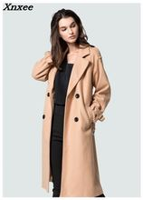 Women's casual wool blend trench coat double breasted oversize coat with belt medium-long loose style autumn/winter clothing brand children s clothing in the big girl wool coat autumn and winter children s long section of the red double breasted trench