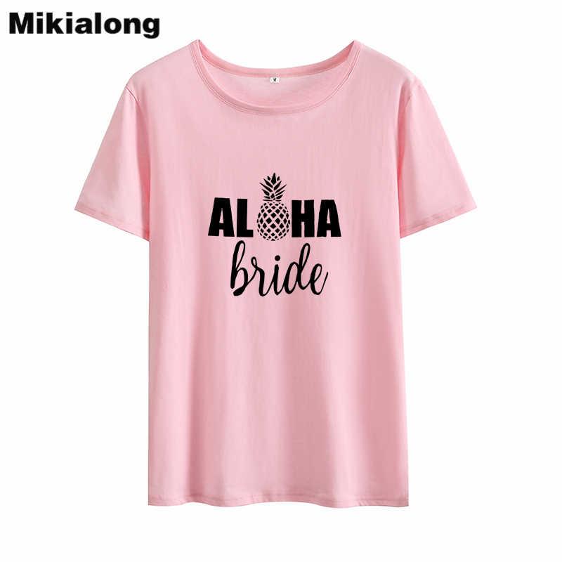 Mikialong Aloha Невесты Печатных для женщин Летняя футболка 2018 ананас Графический Femme черный, белый цвет Хлопковая