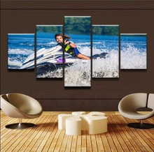 Modern Canvas Painting Wall Art Frame Pictures 5 Pieces Sports Motorboat Sea Tableau Poster Print Home Decor