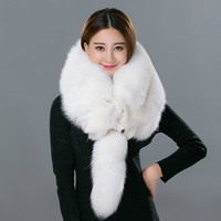 Real Fox Fur Scarf For Women Fashion Winter Genuine Fur Collar Scarves Warm Real Fox Fur Scarf Wholesale And Retail