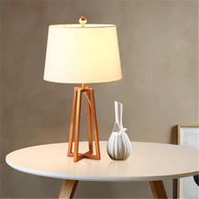 Nordic Wood LED Table Lights Office Decor Cloth Lampshade Desk Lamps Bedroom Bedside Reading Table Lamps Kitchen Fixtures Avize(China)