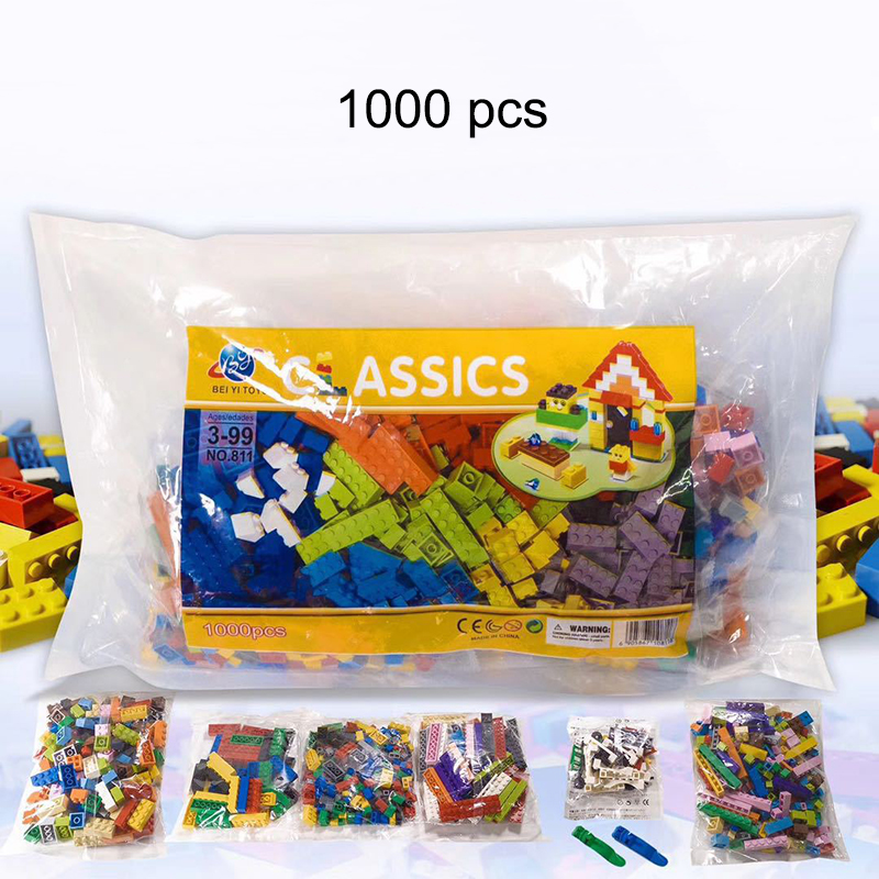 <font><b>1000</b></font> <font><b>pcs</b></font> Building Block Bricks DIY Creative Bricks City Building Bricks Compatible Plastic Bricks Toys For Kids Classic Bricks image