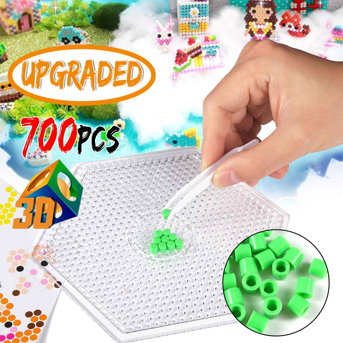 Kalisi 700PCS Upgraded DIY Magic Water Beads Toys Sticky Fuse Aquas Cylindrical Educational Kids Funny Toy Arts Crafts Gift