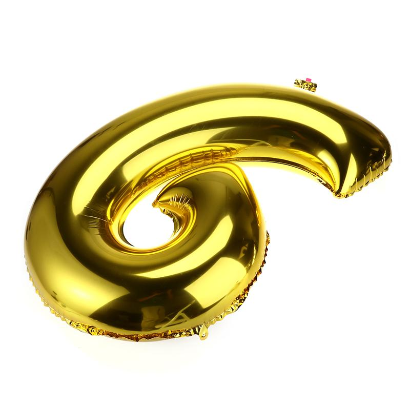 32 inch Thickened Helium Foil Balloons Birthday Number Balloons 9 for Wedding Anniversary Decoration (Gold) - 4
