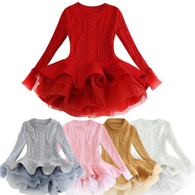 Cô gái Dệt Kim Áo Len Mùa Đông Áo Chui Đầu Crochet Tutu Dress Tops Chập Chững Biết Đi Trẻ Em Bóng Áo Choàng Dresses Quần Áo Màu Đỏ