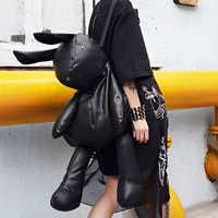 LANMREM 2019 Korean Fashion Trend Travelling Rabbit Both Shoulders Package Woman Personality Bale Black Bag YE86801