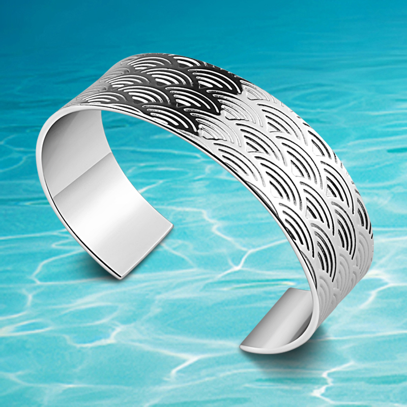 Cuff Bracelet New Best Selling Standard 925 Sterling Silver Bangles European American Style Bracelet Wide Version Jewelry Women image