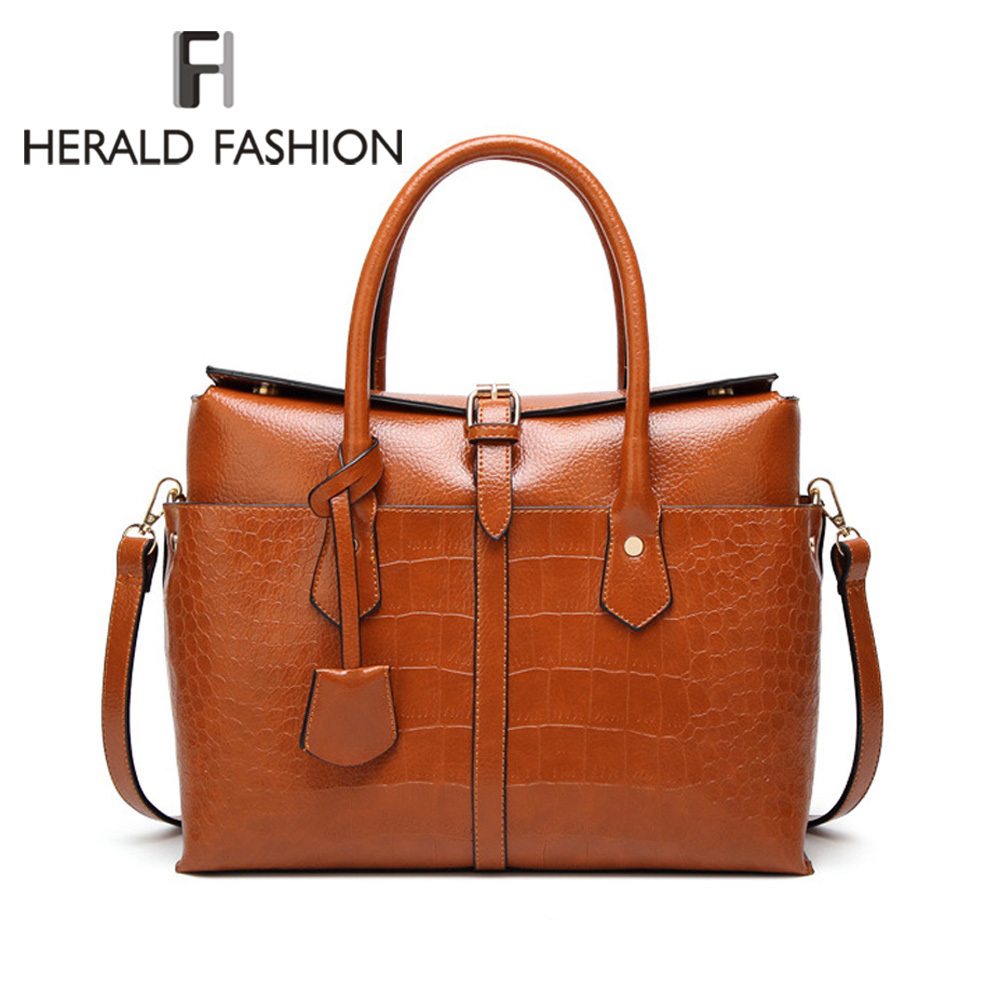 Herald Fashion Women's Handbag Quality Leather Female Shoulder Bag Crocodile Pattern Tote Bags Ladies' Messenger Bags Bolsa