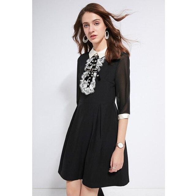 706f3ede0b black dress for woman rhinestone beaded white lace bib peter pan collar 3 4  sleeve a line knee length mori girl retro dress