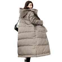 купить Women Long Plaid Winter Coat 2018 Fashion Hooded Thick Parka With Scarf Casual Outwear Warm Padded Jacket Plus Size S-XXL PJ263 по цене 5080.53 рублей