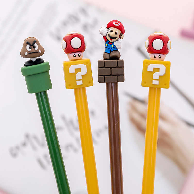1PC Super Marie Gel Pen Black 0.38mm Lovely Cartoon Writing Stationery Office School Supplies