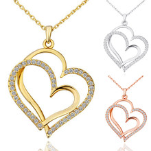 Crystal Wedding Jewelry Double Heart Golden Silver Valentines Gift 1PC Love Adjustable Rose Golden Valentine's Day(China)