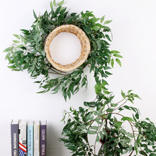 A 1.7-meter-rattan-green fern plant simulated withered-branch to arrange false willow leaves on the way of weddings