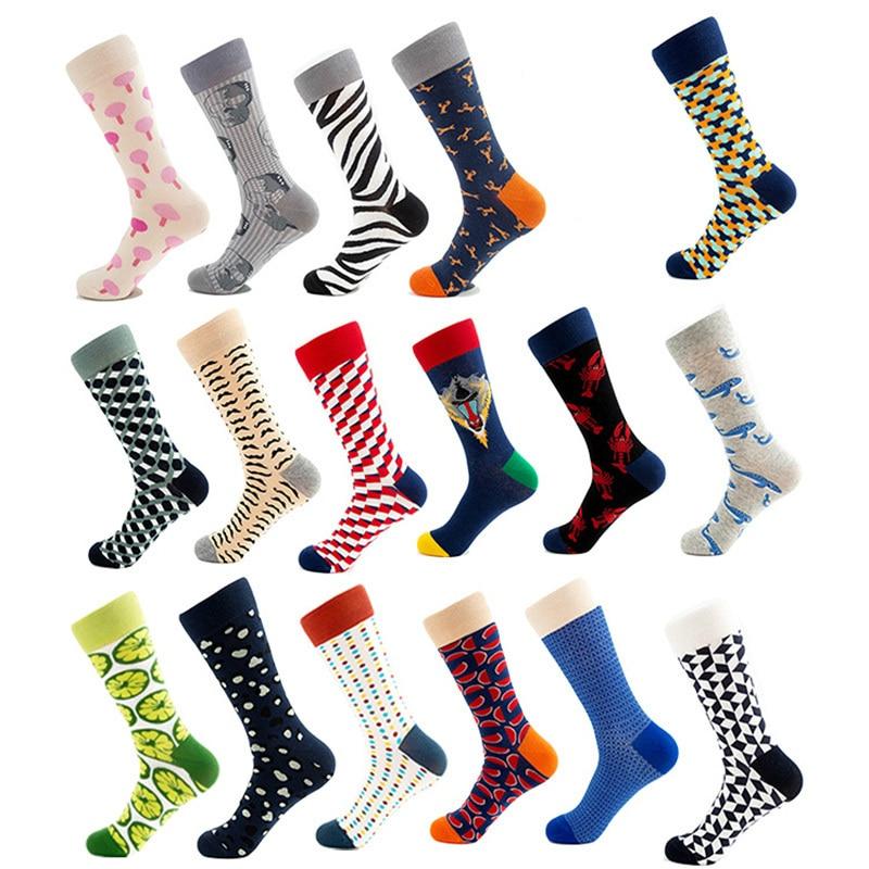 PEONFLY 15 Styles  Combed Cotton Men Socks Unisex Women Animal Popular Hip Hop Skateboard Socks Men Novelty Wedding Dress Socks
