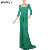 YNQNFS M152 Elegant Chiffon 3/4 Sleeve Robe Cocktail Long Mother of Bride Formal Dress Green Party Gown Wedding Guest Wear 2019