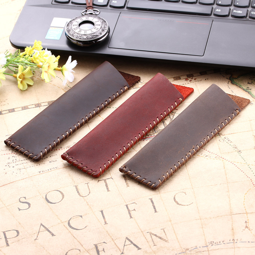 New Leather Handcrafted Single Pen Pencil Bag Holder Storage Sleeve Pouch Kit