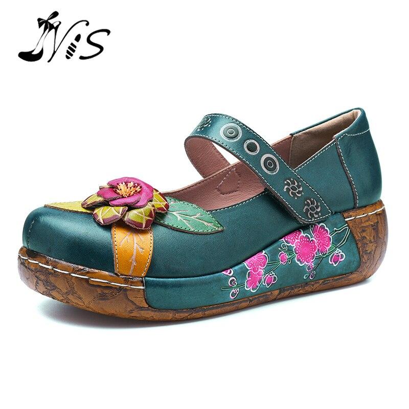 NIS bohème Style Vintage femmes chaussures plates femme printemps été Socofy véritable en cuir plate-forme chaussures décontractées à la main fleur nouveau