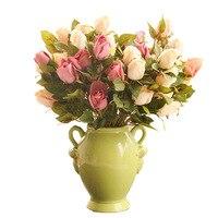 Creative Green Binaural Ceramic Flower Vase Crafts Modern Fashion Home Soft Decorative Retro Flower Pot Decoration Wedding Gifts