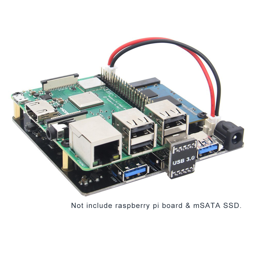 Raspberry Pi X852 V1 1 Dual mSATA SSD Storage Expansion Board with USB 3 0 Jumper