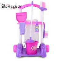 Little Helper Toys Playset Cleaner Cleaning Cart Pretend Play Toy Kids Toy Simulated Vacuum Cleaner Baby Kit 2 Colors