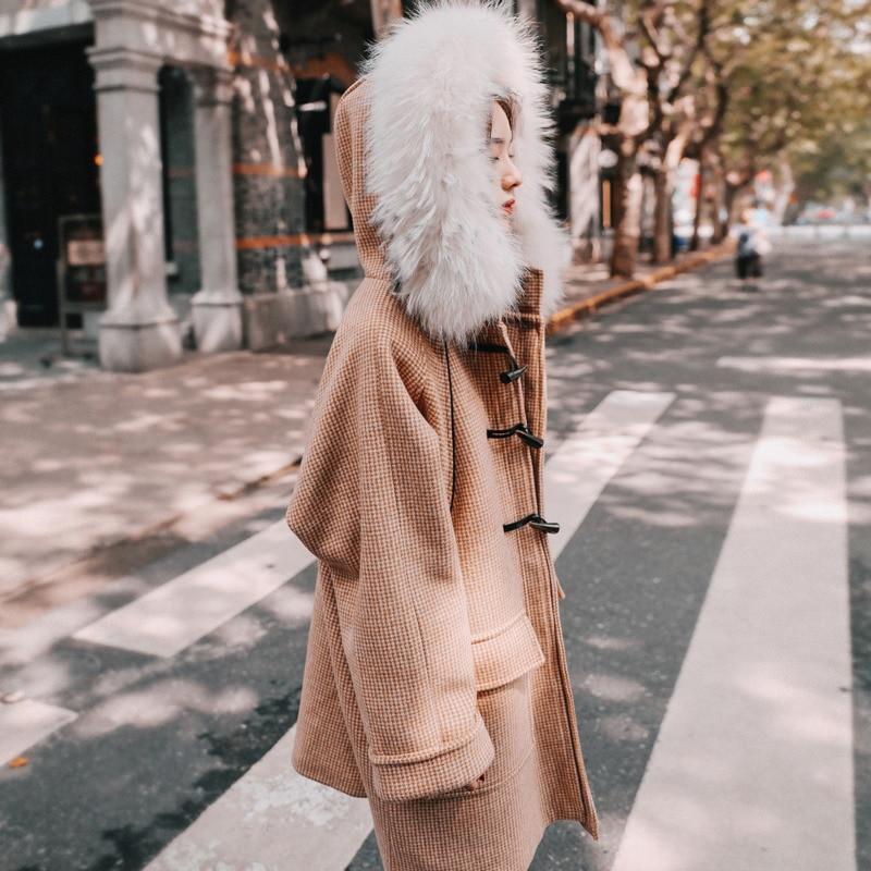 Survêtement Et Grand Boucle Tops Épais Col À Manteaux D'hiver Femme De Picture A593 Plaid Laine Pardessus Long Color Cornes Cheveux Femmes Capuche 2018 8qdpXP