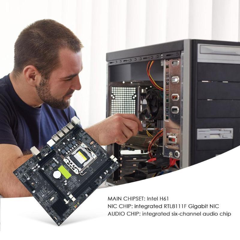 X79 LGA 1356 Pin carte mère de bureau RECC DDR3 serveur CPU carte mère DDR3 Double Double canal PCI-E X16 pour Intel H61 Hexa Core - 2