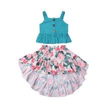 Toddler Kid Baby Girl Summer Clothes Sets Cotton Tops Vest Sleeveless Floral Ski