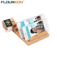 Floureon Wood USB Charging Station Desk Stand Charger 5V 3A Fast Charging 4 USB Ports for iPhone ipad iWatch Phone Holder