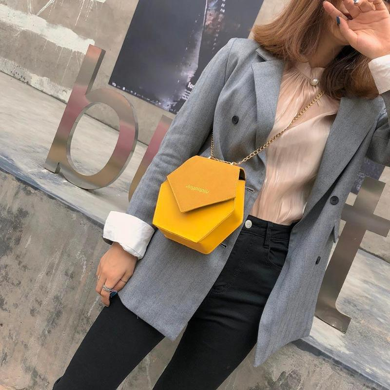 ABDB-Fashion Women PU Chain Shoulder Bags Geometric Hexagon Polygon Casual Crossbody Bag Flap Hasp ChainABDB-Fashion Women PU Chain Shoulder Bags Geometric Hexagon Polygon Casual Crossbody Bag Flap Hasp Chain