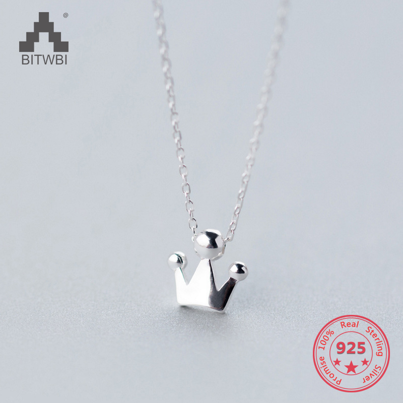 Korea Hot Style Pure 925 Sterling Silver Delicate Fashion Crown Pendant Necklace Jewelry For Women