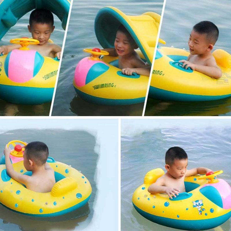 Children's Inflatable Swimming Ring Seat Baby Kids Summer Swimming Pool Float Boat Canopy Pool Inflatable Toys For Children