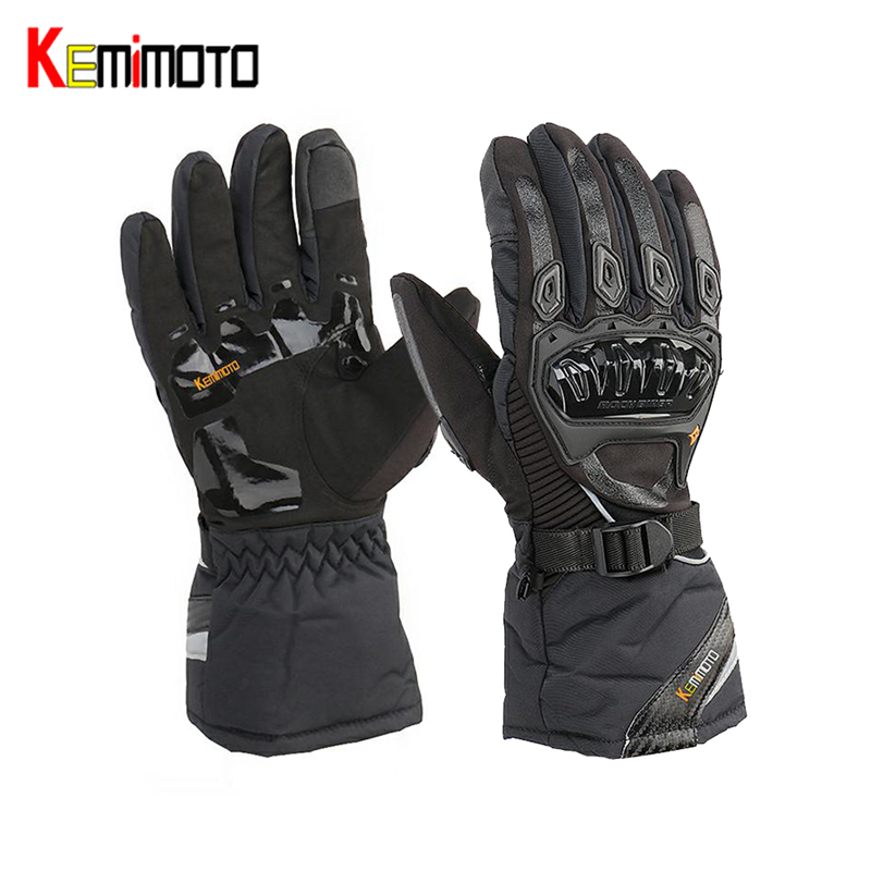KEMiMOTO Winter Warm Motorcycle Gloves Touch Screen Waterproof Windproof Protective Gloves Men Guantes Moto Luvas