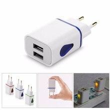 Duplo 5 v 2.1a carregador 2 portas usb luminosa ue plug carregamento rápido para iphone samsung xiaomi huawei telefone parede carga adaptador de energia