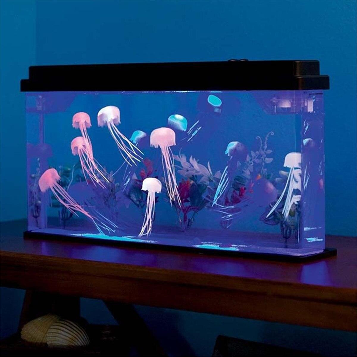 Méduse 45x8x24 cm Deluxe lumière LED rougeoyant Aquarium poisson PetsTank ménage décor à la maison fond du monde sous-marin