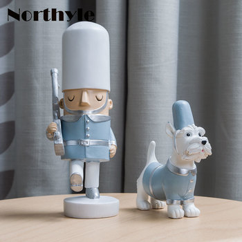 Soldier And Dog Resin Miniature Home Decoration Art Craft Kawaii Figurine Christmas Gift For Kids Xmas Ornament Children's Gift