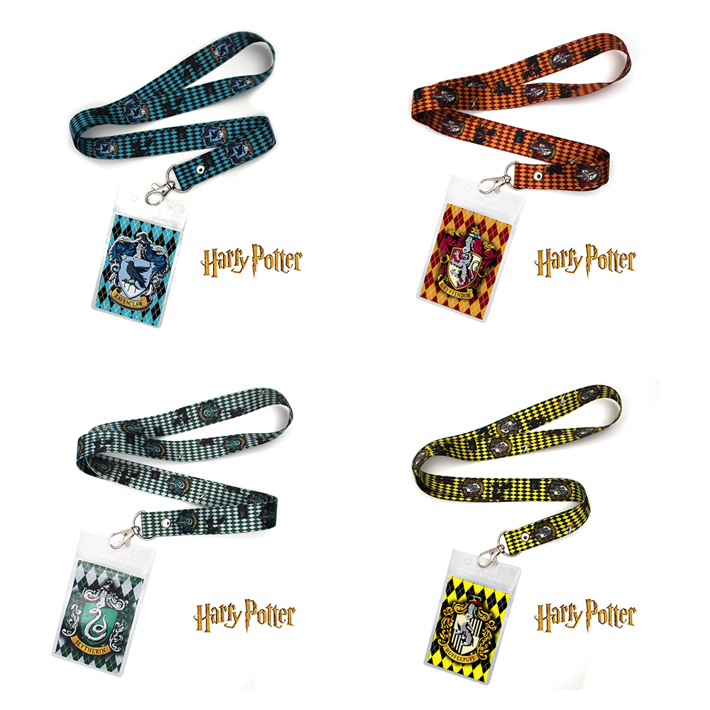 Harri Potter Gryffindor Slytherin Ravenclaw Hufflepuff Phone Rope Strap Lariat Lanyard+ID Credit Card Protector Case Sleeve Cool