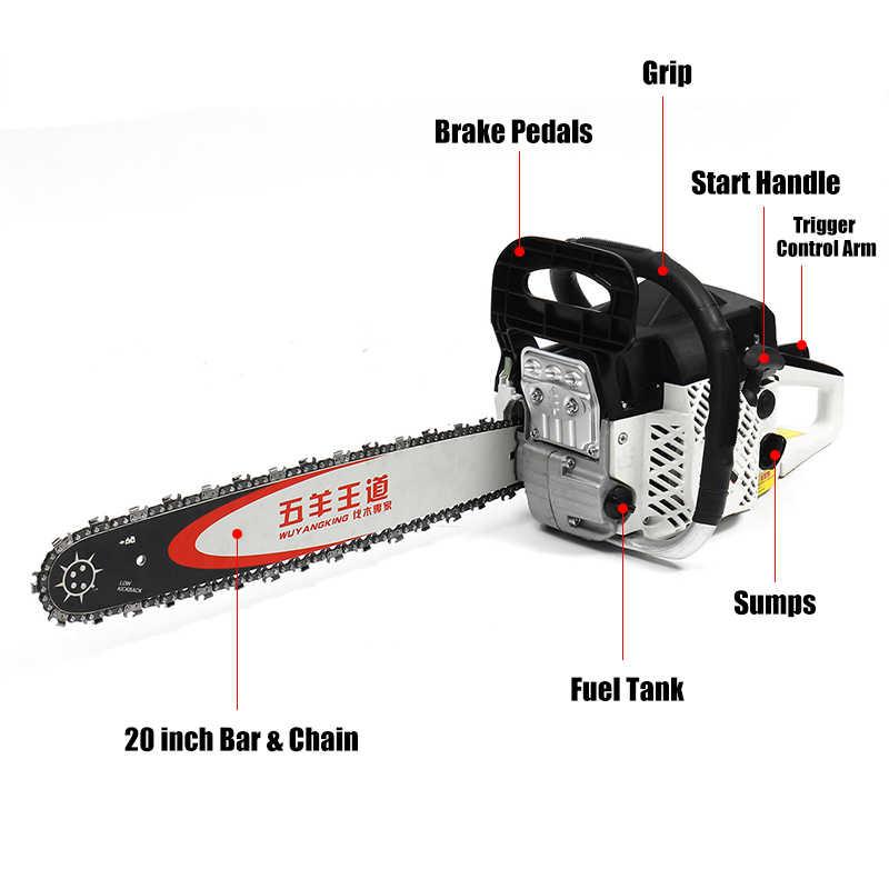 Chuyên nghiệp 5200 W Cưa 20 inch Bar Gas Xăng Powered Cưa 75cc Động Cơ Chu Kỳ Chuỗi Cưa