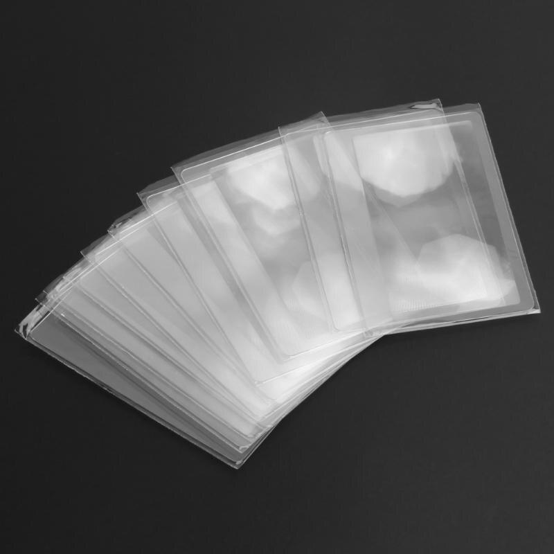 1/10 PCS 3 X Magnifier Magnification Magnifying Fresnel LENS 8*5.5*0.04cm Pocket Credit Card Size Transparent Magnifying Glass