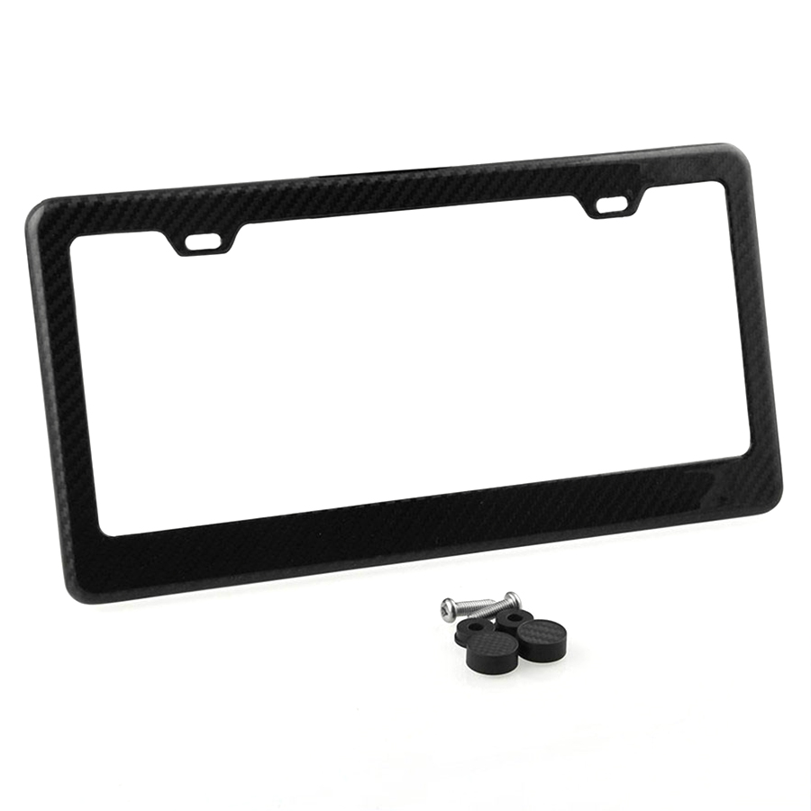 100/% Carbon Fiber License Plate Frame Tag Cover W// 2 Screw Caps US Standard Size