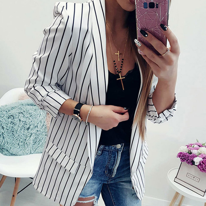 2019 Summer Women Blazers And Jackets Office Lady Suit Slim White Black Strip Blazer Coat