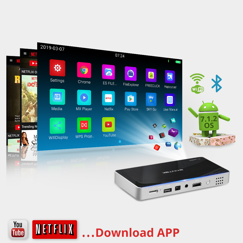 BYINTEK Big Discount Mini projector portable Home Theater MD322 Android Wifi 8GB USB Airplay Bluetooth HDMI Proyector Beamer