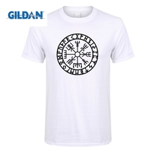 GILDAN Men Vegvisir Futhark Runes Navigator Viking Valhalla Odin Men Crew Neck Short Sleeve T Shirts Crazy Adult T-Shirt Designs кий пул 2 pc viking valhalla va303
