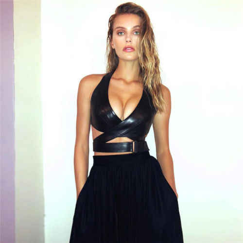 Tops Shirt Leather Tank Womens Sexy Girl Crop Bustier Bras Halter Bralette Black 2019 Out Clubwear Cross Top Camis Cut 8Onk0wP